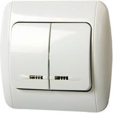 Выключатель E.NEXT e.install.stand.812L двухклавишный с подсветкой с рамкой (s035020)