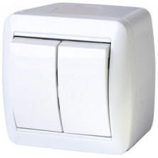 Выключатель двухклавишный E.NEXT e.aqua.1112.gr для наружного монтажа, IP44 (s035052)