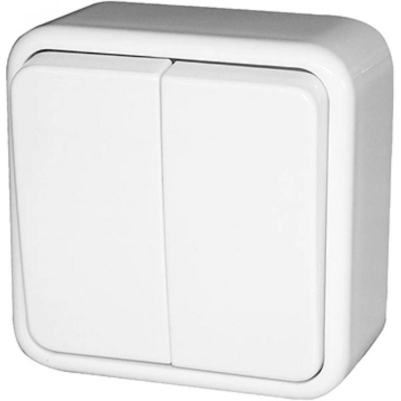Выключатель двухклавишный E.NEXT e.touch.1112.w.blister для наружного монтажа, белый, в блистерной упаковке (p043003)