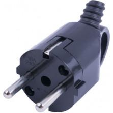 Вилка бытовая E.NEXT e.plug.angle.006.16, с заземлением, 16А, угловая, черная, с ручкой (s9100047)