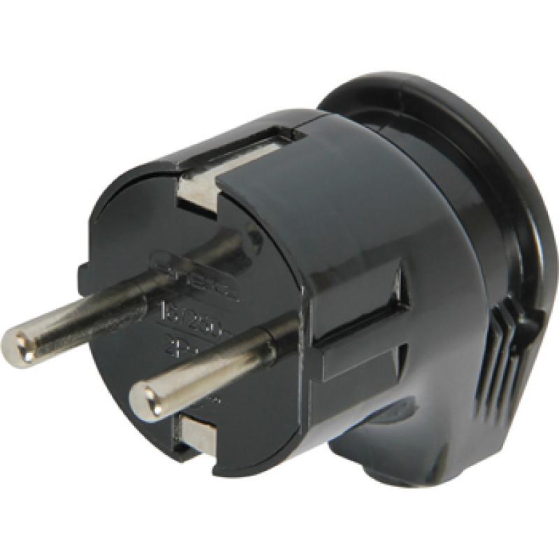 Вилка бытовая E.NEXT e.plug.angle.008.16, с заземлением, 16А угловая черная (s9100005)
