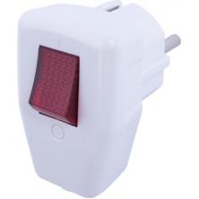 Вилка бытовая E.NEXT e.plug.angle.009.16, с заземлением, 16А, угловая, белая, с выключателем (s9100048)