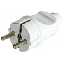 Вилка бытовая E.NEXT e.plug.straight.003.16, с заземлением, 16А прямая белая (s9100002)