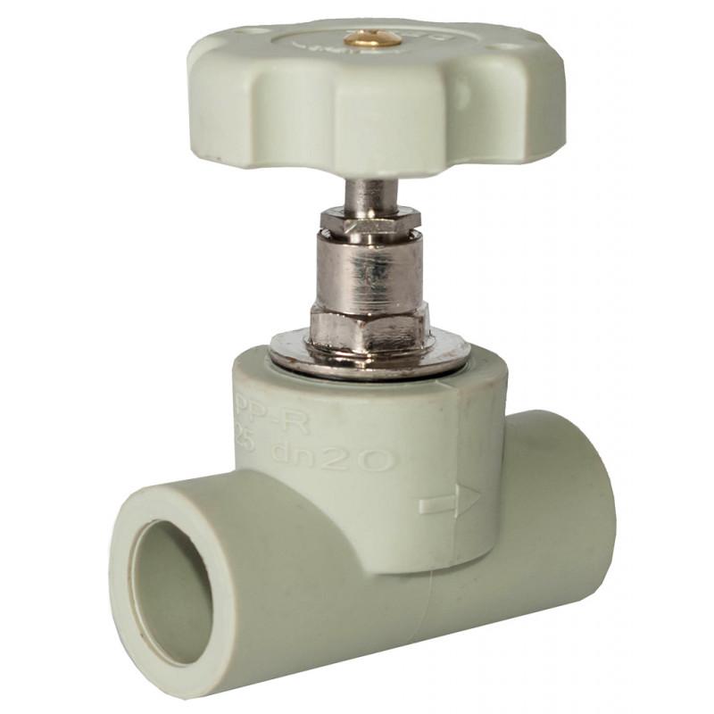 Вентиль полипропиленовый (PPR) 75 TEBO серый