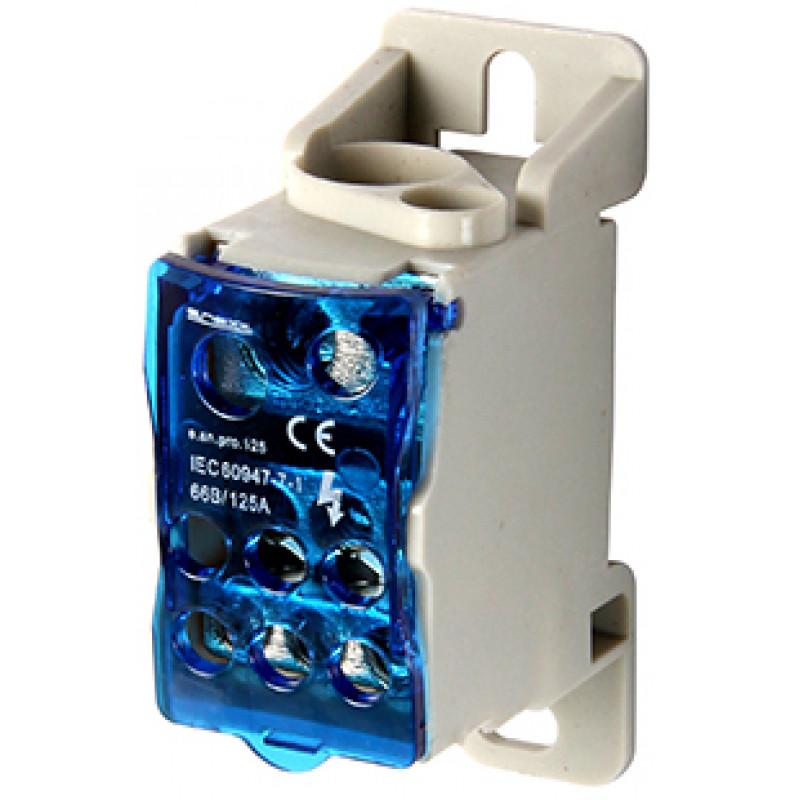 Блок распределительный E.NEXT на DIN-рейку, 125А (вход 1х10 , 35, 1х6-16 кв.мм / выход 6х2,5-16 кв.мм) (p0680002)