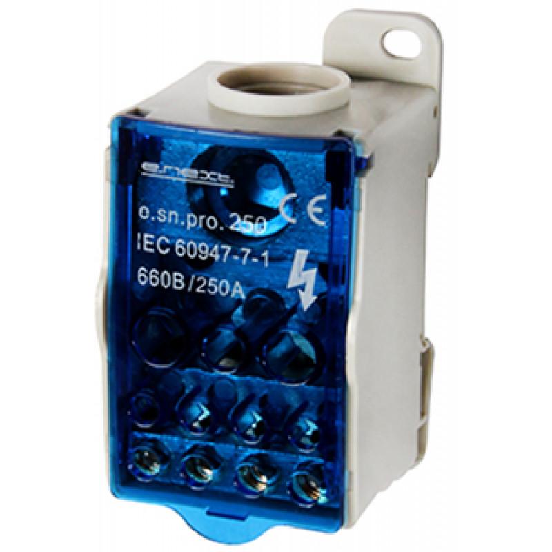 Блок распределительный E.NEXT на DIN-рейку, 250А (вход 1 * 35 , 120 кв.мм / выход 2 * 6 ... 35, 5 * 2,5 ... 16, 4 * 2,5 ... 10 кв.  мм)