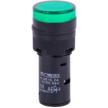 Арматура светосигнальная E.NEXT e.ad16.24.green Ø16мм 24В АС/DC зеленая (s009011)