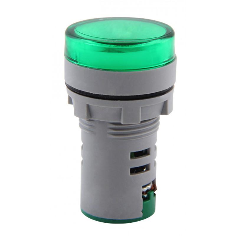 Арматура светосигнальная с индикатором напряжения E.NEXT e.ad22.i.12-500.green Ø22мм АС зеленая (s009035)