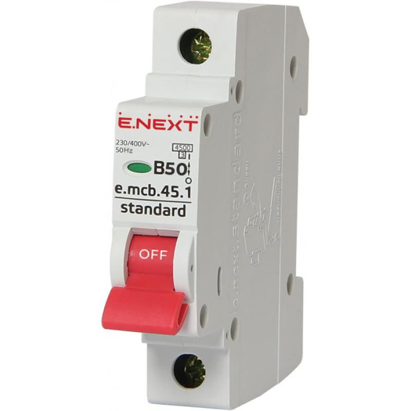 Автоматический выключатель E.NEXT e.mcb.stand.45.1.B50, 1р, 50А, В, 4,5 кА (s001013)