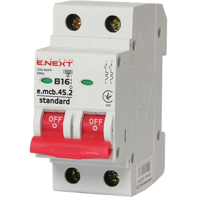 Автоматический выключатель E.NEXT e.mcb.stand.45.2.B16, 2р, 16А, В, 4,5 кА (s001017)