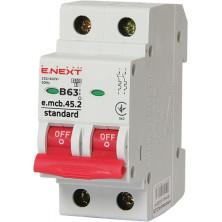 Автоматический выключатель E.NEXT e.mcb.stand.45.2.B63, 2р, 63А, В, 4,5 кА (s001023)