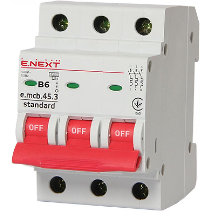 Автоматический выключатель E.NEXT e.mcb.stand.45.3.B6, 3р, 6А, В, 4,5 кА (s001024)