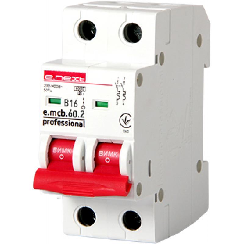 Автоматический выключатель E.NEXT e.mcb.pro.60.2.B 16, 2р, 16А, В, 6кА (p041017)