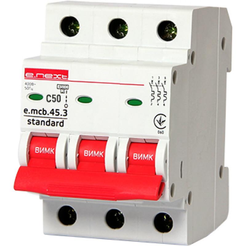 Автоматический выключатель E.NEXT e.mcb.stand.45.3.C50, 3р, 50А, C, 4,5 кА (s002036)