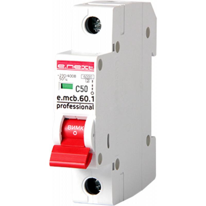 Автоматический выключатель E.NEXT e.mcb.pro.60.1.C 50, 1р, 50А, C, 6кА (p042013)
