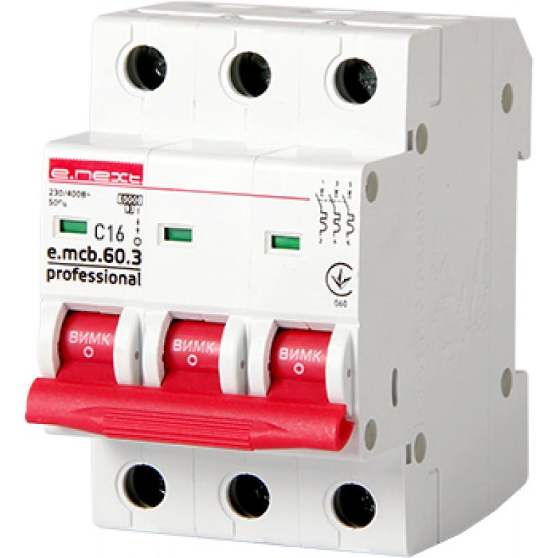 Автоматический выключатель E.NEXT e.mcb.pro.60.3.C 16, 3р, 16А, C, 6кА (p042031)