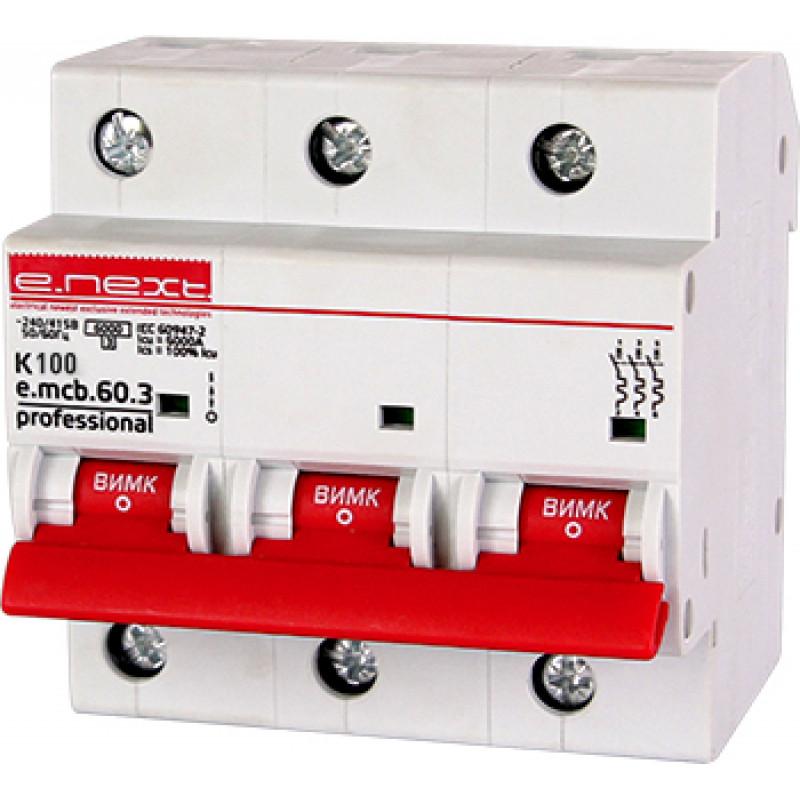 Автоматический выключатель E.NEXT e.mcb.pro.60.3.K 100, 3р, 100А, K, 6кА (p0430007)