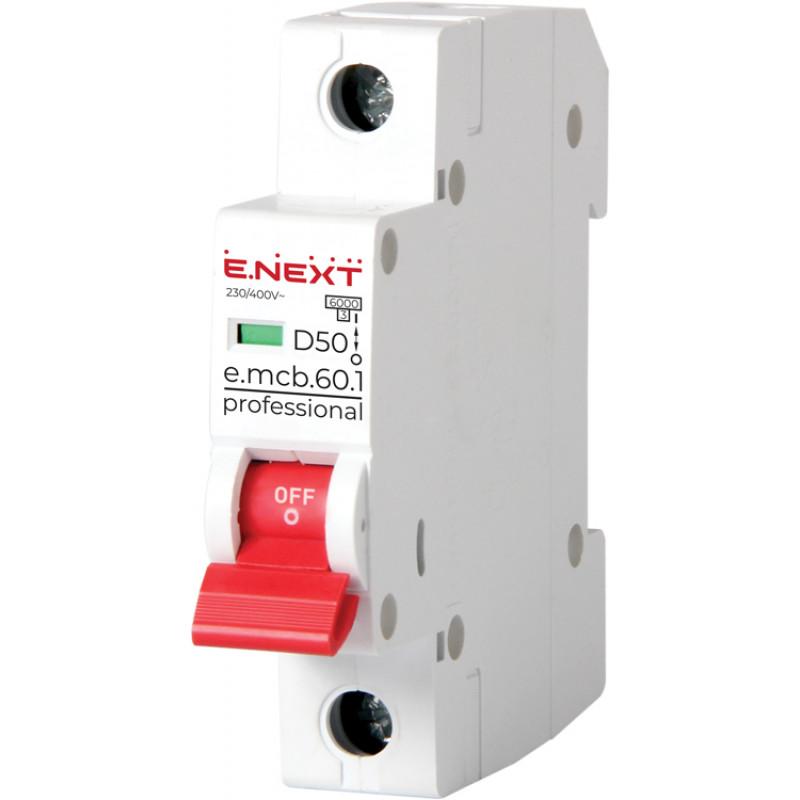 Автоматический выключатель E.NEXT e.mcb.pro.60.1.D.50, 1р, 50А, D, 6кА (p0710022)