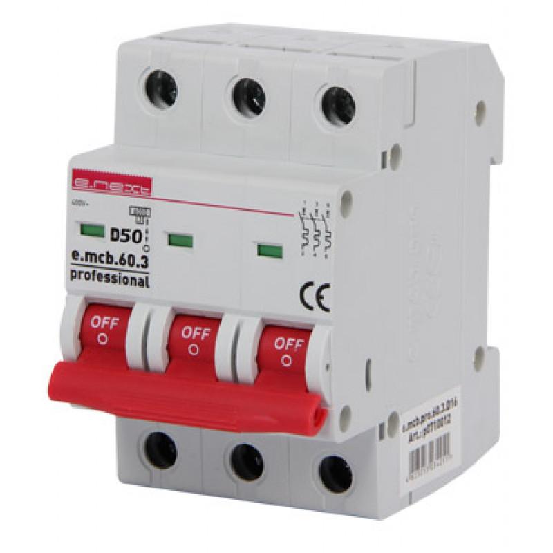 Автоматический выключатель E.NEXT e.mcb.pro.60.3.D.50, 3р, 50А, D, 6кА (p0710017)