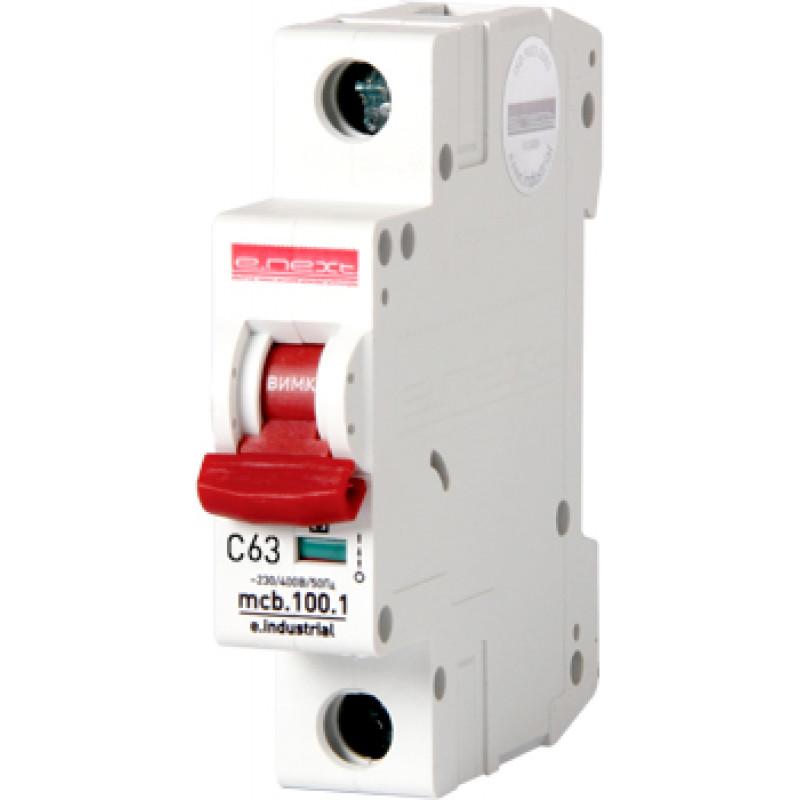Автоматический выключатель E.NEXT e.industrial.mcb.100.1.C63, 1p, 63А, C, 10кА (i0180009)