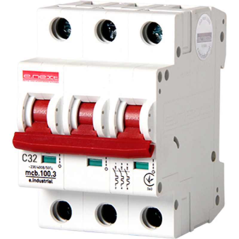 Автоматический выключатель E.NEXT e.industrial.mcb.100.3.C32, 3p, 32А, C, 10кА (i0180024)