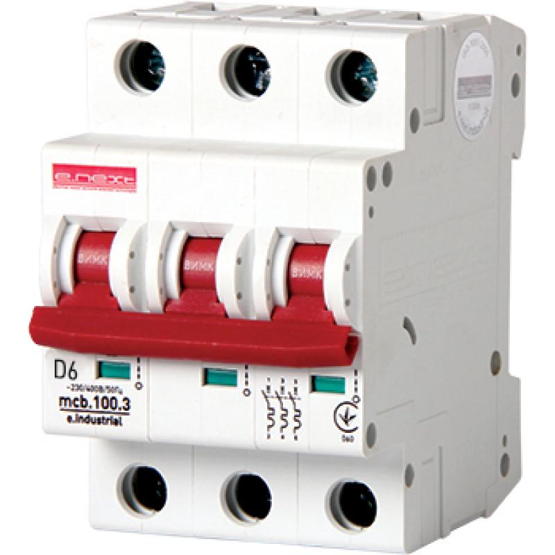 Автоматический выключатель E.NEXT e.industrial.mcb.100.3.D.6, 3р, 6А, D, 10кА (i0200001)