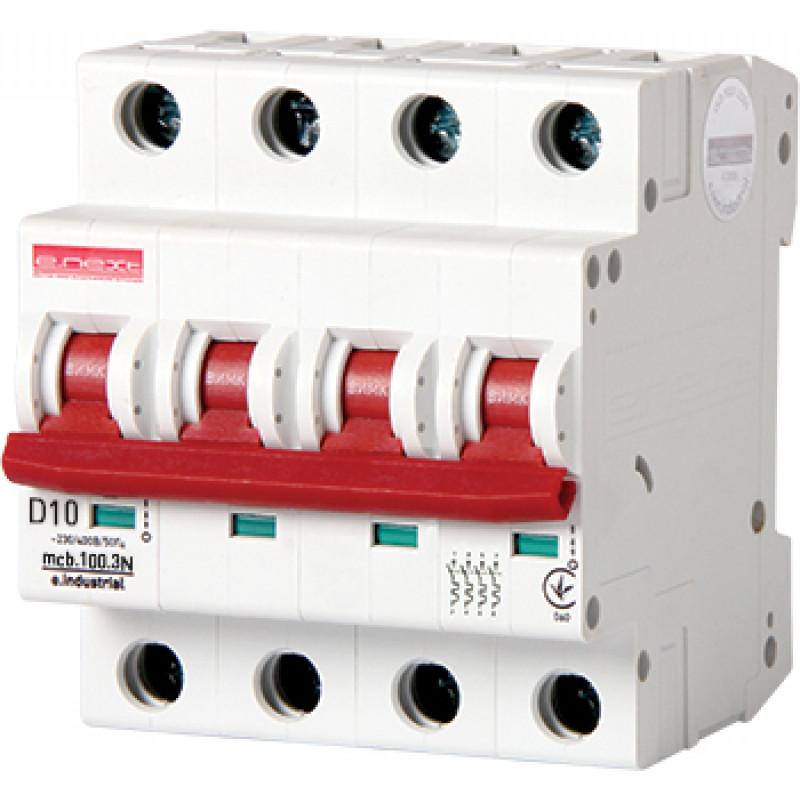 Автоматический выключатель E.NEXT e.industrial.mcb.100.3 N. D10, 3р+N, 10А, D, 10кА (i.0210002)
