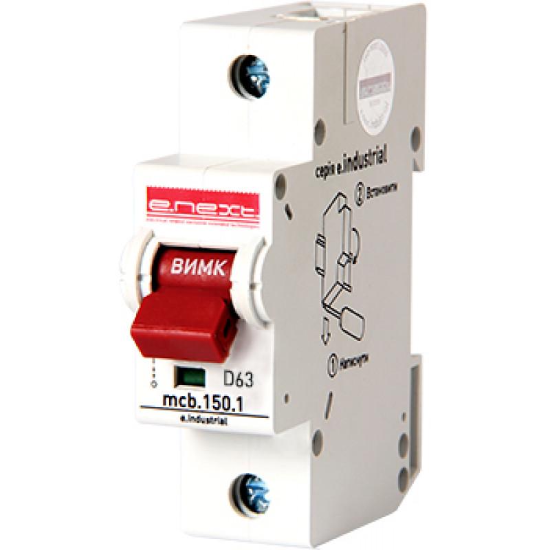 Автоматический выключатель E.NEXT e.industrial.mcb.150.1.D63, 1р, 63А, D, 15кА (i0630001)