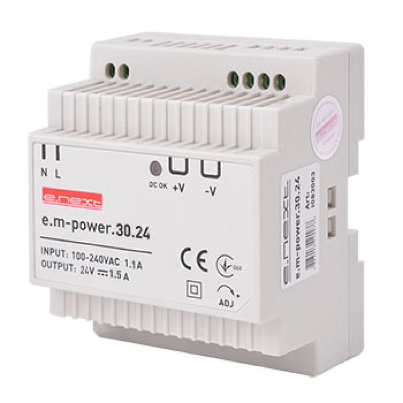Блок питания на DIN-рейку E.NEXT e.m-power.30.24 30Вт, DC24В (i083003)