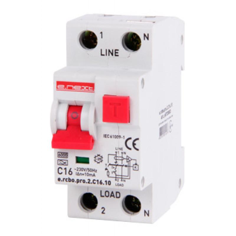 Выключатель дифференциального тока с защитой от сверхтоков E.NEXT e.rcbo.pro.2.C16.10, 1P+N, 16А, С, тип А, 10мА (p0720003)