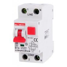 Выключатель дифференциального тока с защитой от сверхтоков E.NEXT e.rcbo.pro.2.B16.30, 1P+N, 16А, В, тип А, 30мА (p0720006)