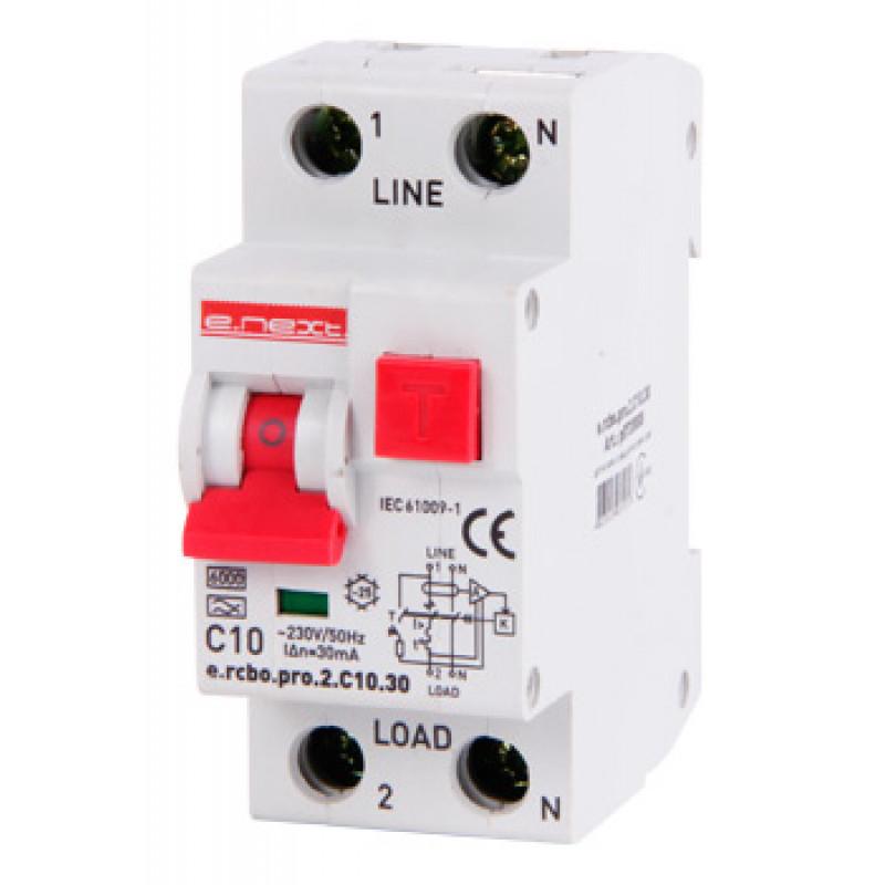 Выключатель дифференциального тока с защитой от сверхтоков E.NEXT e.rcbo.pro.2.C10.30, 1P+N, 10А, С, тип А, 30мА (p0720008)