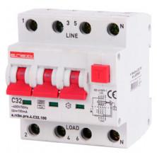 Выключатель дифференциального тока с защитой от сверхтоков E.NEXT e.rcbo.pro.4.C32.100, 3P + N, 32А, С, тип А, 100мА (p0720023)