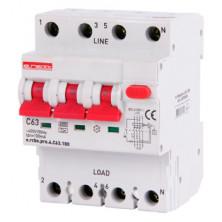 Выключатель дифференциального тока с защитой от сверхтоков E.NEXT e.rcbo.pro.4.C63.100, 3P + N, 63А, С, тип А, 100мА (p0720026)