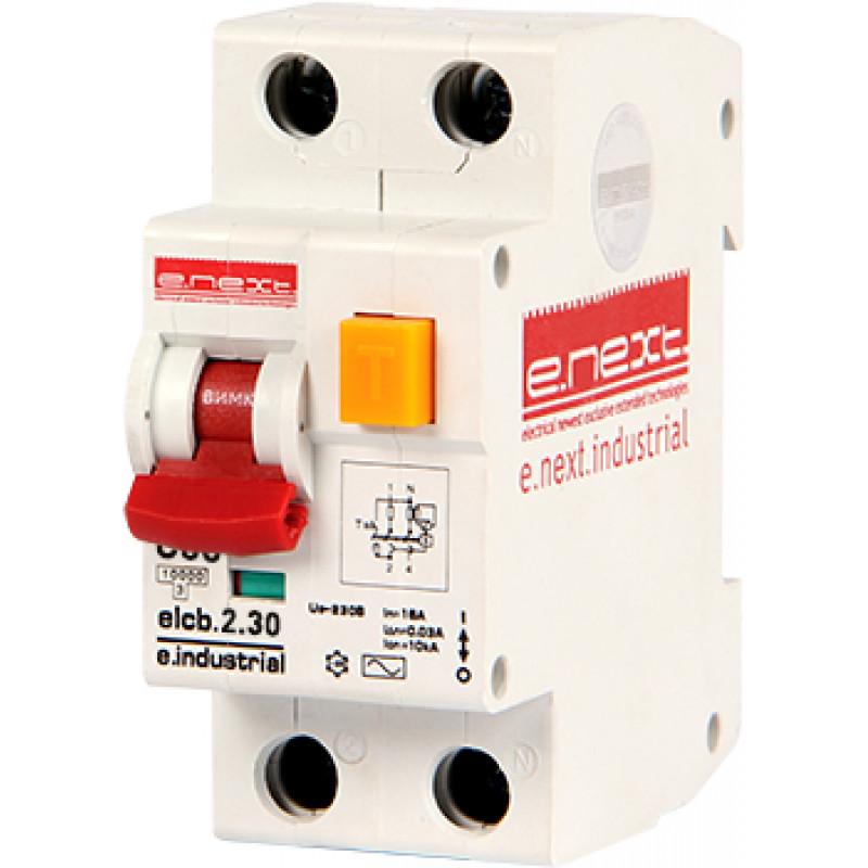 Выключатель дифференциального тока E.NEXT e.industrial.elcb.2.C06.30, 2р, 06А, C, 30мА (i0230001)