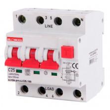 Выключатель дифференциального тока с защитой от сверхтоков E.NEXT e.rcbo.pro.4.C25.100, 3P + N, 25А, С, тип А, 100мА (p0720022)
