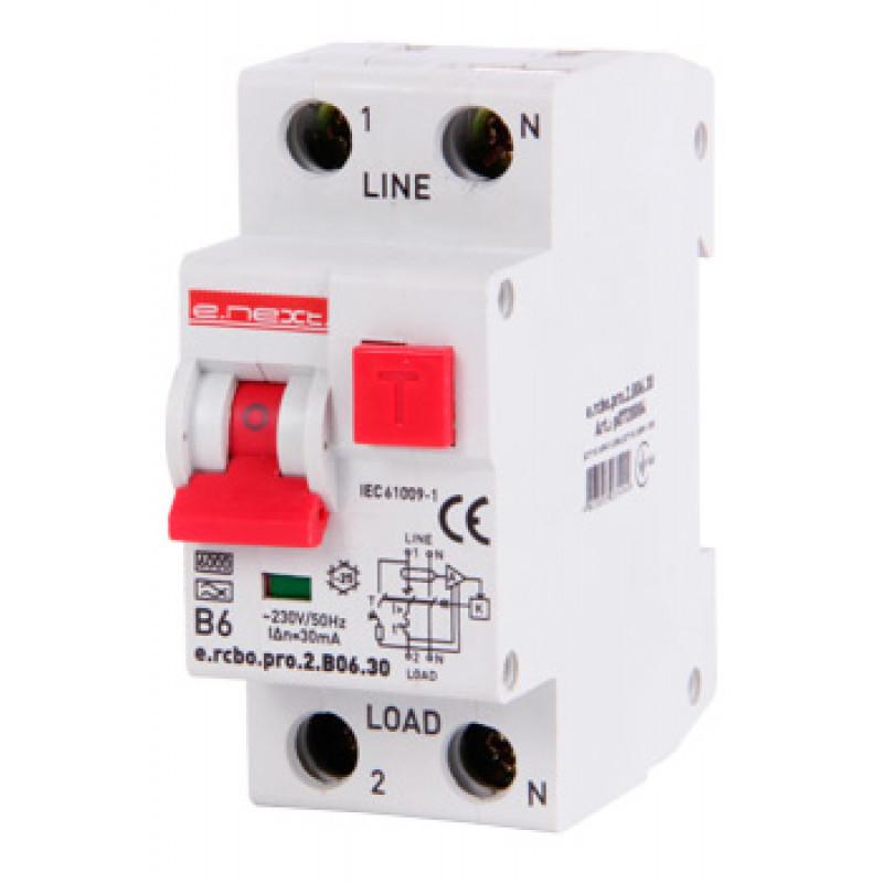 Выключатель дифференциального тока с защитой от сверхтоков E.NEXT e.rcbo.pro.2.B06.30, 1P+N, 6А, В, тип А, 30мА (p0720004)