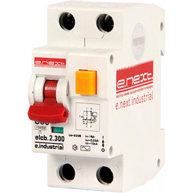 Выключатель дифференциального тока E.NEXT e.industrial.elcb.2.C06.300, 2р, 6А, С, 300мА (i0230007)